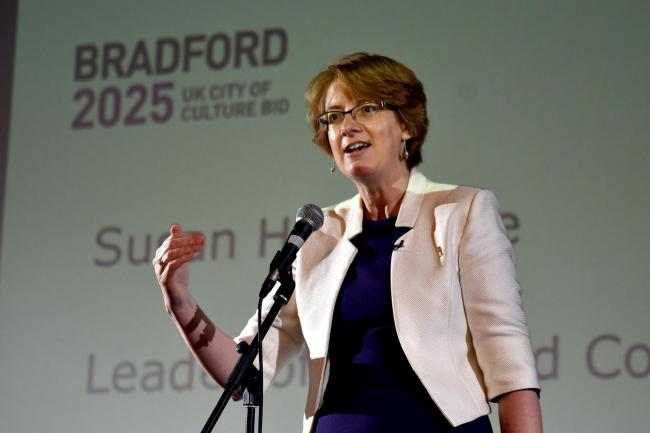 Bradford Council leader Susan Hinchcliffe reacts to new…